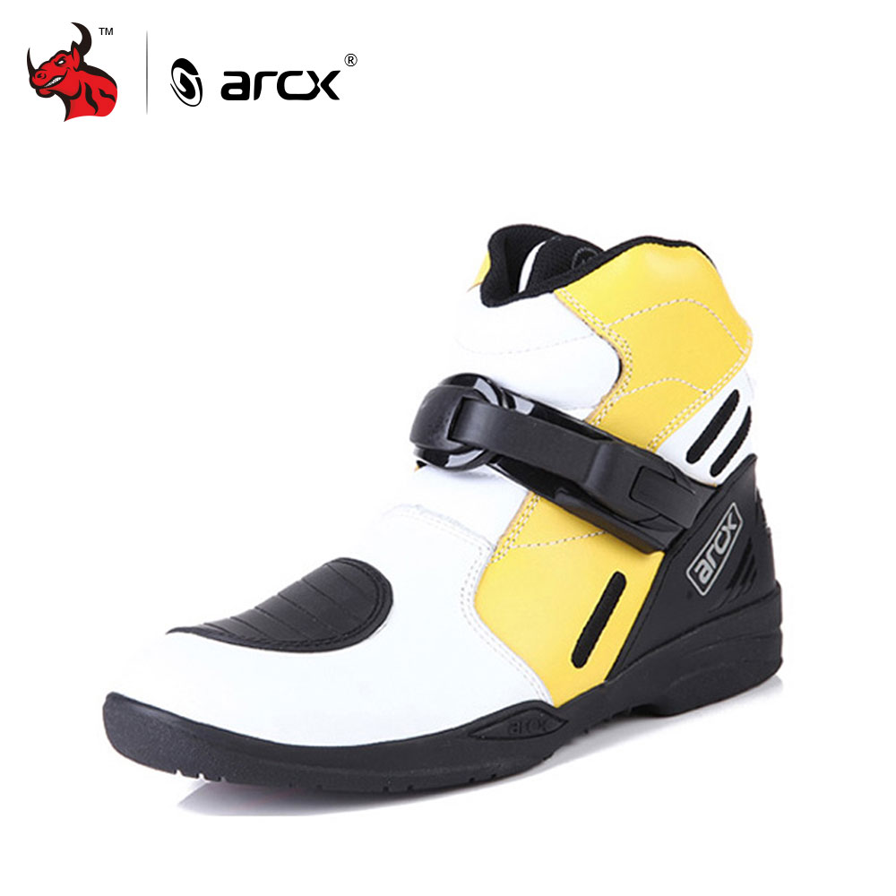 ARCX Motorcycle Road Racing Boots Genuine Cow Leather Street Moto Chopper Cruiser Touring Biker Motorbike Riding Ankle Shoes