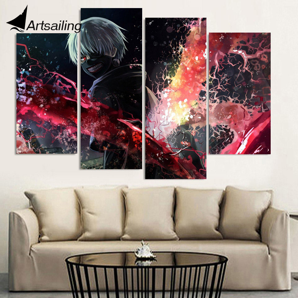 4 piece canvas art HD printed comic poster tokyo ghoul art canvas painting wall picture for living room free shipping up-1497A