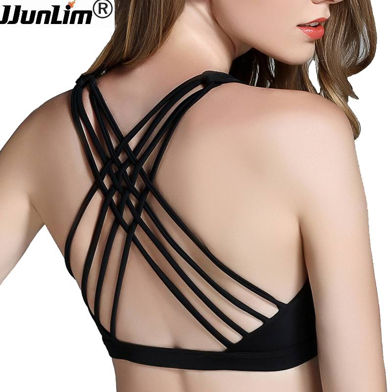 2017 Hot Back Sexy Yoga Bra Women Padded Sports Bra Shake proof Running Bra Workout Gym Bra Wire Free Push Up Fitness Sport Top