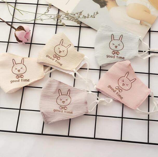 Children's Spring Summer Thin Cartoon Rabbit Mask Kids PM 2.5 Breathable Cotton Sunscreen Mouth-muffle R667