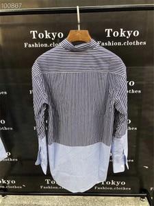 Лучшее качество Vetements рубашки синий белый полосатый Vetements рубашка оверсайз Мужская Женская 11 свободная Vetements рубашка с вышивкой