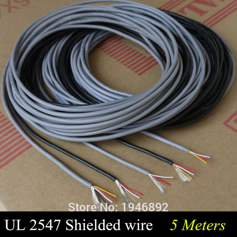 <font><b>5</b></font> Meters High Quality UL 2547 28/26/24 AWG Multi-<font><b>core</b></font> control cable copper <font><b>wire</b></font> shielded audio cable headphone cable signal line image