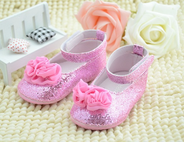 New 2014 Summer Baby Dance Shoes Girls First Walkers infant toddler Pink flower sequined shoes kids casual brand shoes 3pair