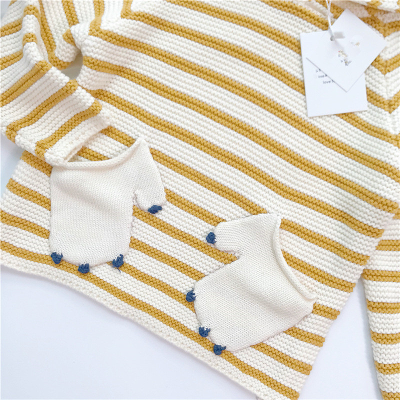 d920ccd0a 2018 New Arrival Autumn Unisex Baby Striped Sweater Kids Girl Outwear Boy  Bear Clothes With Hat Spliced Long Sleeve Swearter-in Sweaters from Mother  & Kids ...