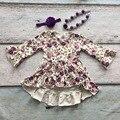 Niñas de invierno y otoño vestido de los bebés asymmertrical vestido floral púrpura vestido flare largo manga vestido de fiesta con accessoreis
