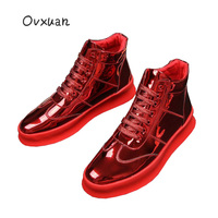 OVXUAN 2019 Patent Leather High Top Platform Shoes Men Luxury Male Dress Sneakers Loafers Shoes Wedding Party Prom Shoes for men