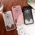 Preto branco rosa lace floral silk padrão case capa para iphone 6 6 s 4.7 6 plus i7 7 mais dura do pc plástico de volta telefone casos