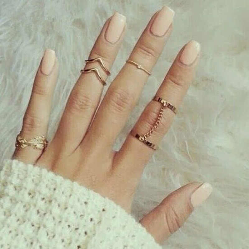 6 pieces/set Gold Color Silver Midi Finger Knuckle Rings Link Chain Crystal Leaf Heart Feather Ring Set For Women Punk Jewelry