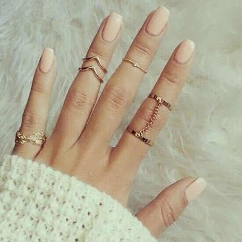 6 шт./компл. золото цвет серебро для суставов пальцев кольца звено цепи кристалл лист сердце кольцо женское набор для женщин панк ювелирные изделия
