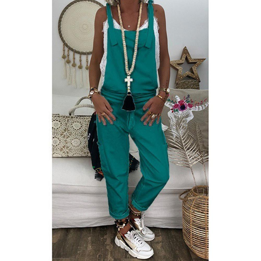 2019 New Yfashion Women Casual Solid Color Dungarees Vintage Loose Long Overalls Rompers Jumpsuits