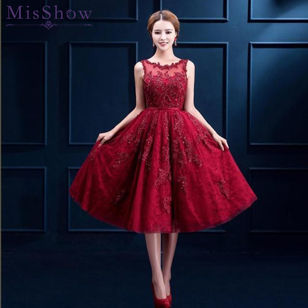 In Stock Sexy Red Short Prom Dresses 2019 burgundy Prom Dress Scoop Sleeveless Appliques Knee Length