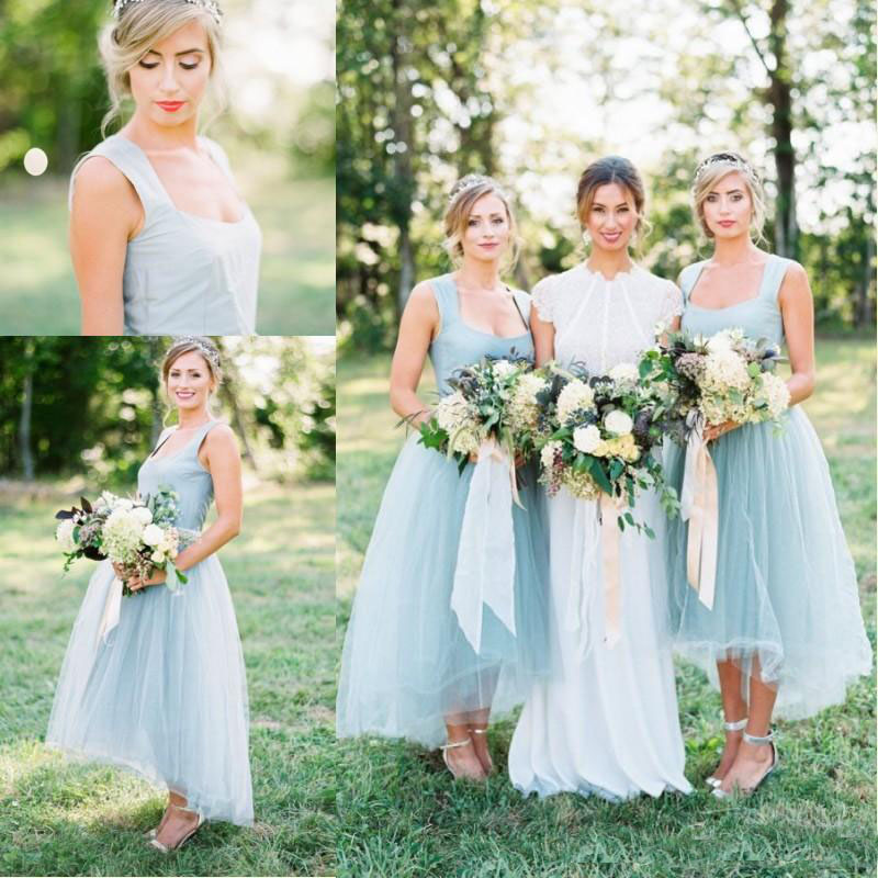 Vintage Ice Blue High Low Bridesmaid Dresses 2019 Country Tulle Bridesmaid Dress Formal Prom Party Gowns Plus Size