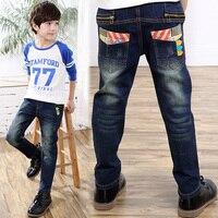 Fashional Kids Boy Jeans Spodnie Dla Dzieci Dziecko Chłopiec Spodnie jeansy Ciemnoniebieskie Spodnie W Pasie Długim Rękawem Wiosna Kid odzież