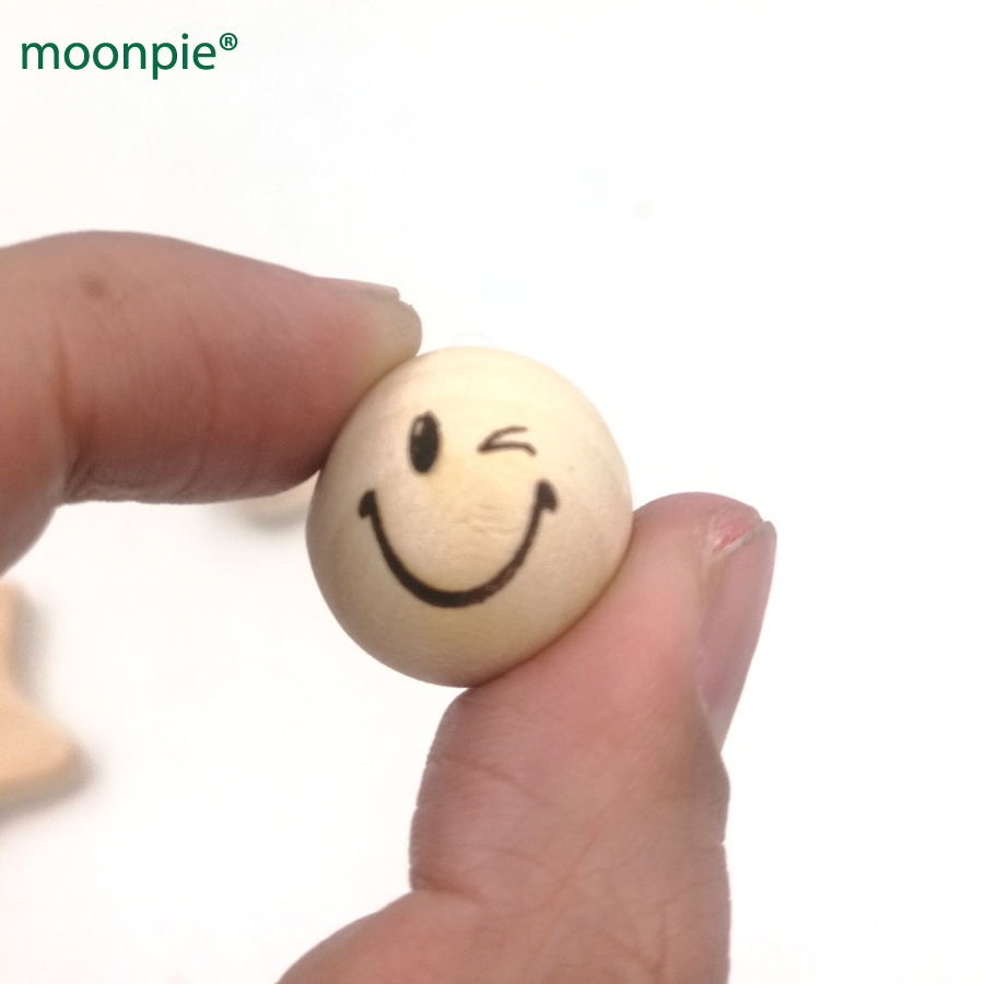 20mm wood emoj naughty smile face round ball bead for teether shaped burnt engrave diy a ...