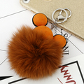 6C Lovely Mickey 8cm Luxury Fluffy Real Fox Fur Ball Pom Pom Plush Genuine Fur Key Chain Keychain Metal Ring Pendant Bag Charm