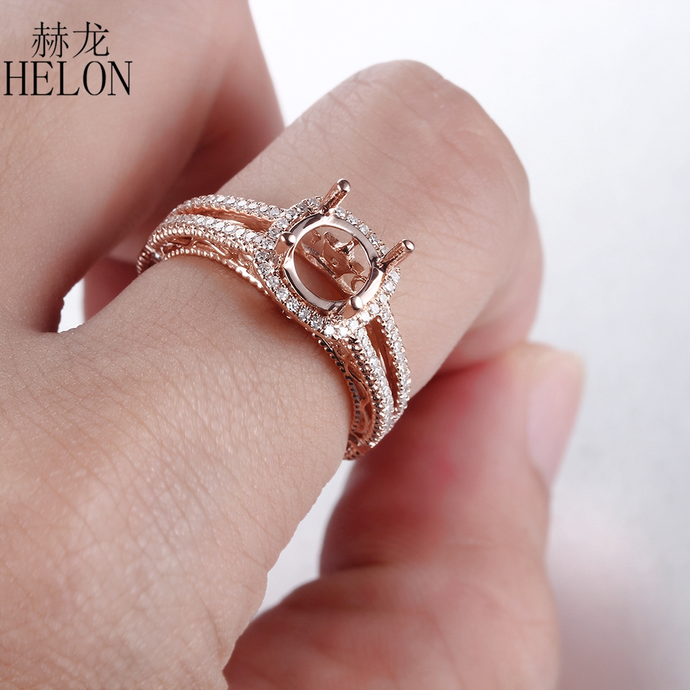 HELON Solid 14K (585) Rose Gold Round Cut 8mm Gift Semi Mount 0.3ct ...