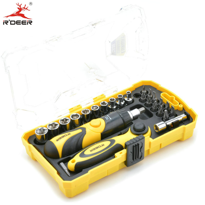 RDEER 26pcs Magnetic Screwdriver Set Ratchet Wheel Tip Screwdriver Head Phillips Bits Set Multifuction Hand Tools 9 pcs cross head flat head slotted tip screwdriver set magnetic phillips slotted plastic handle convenient bag repair tools