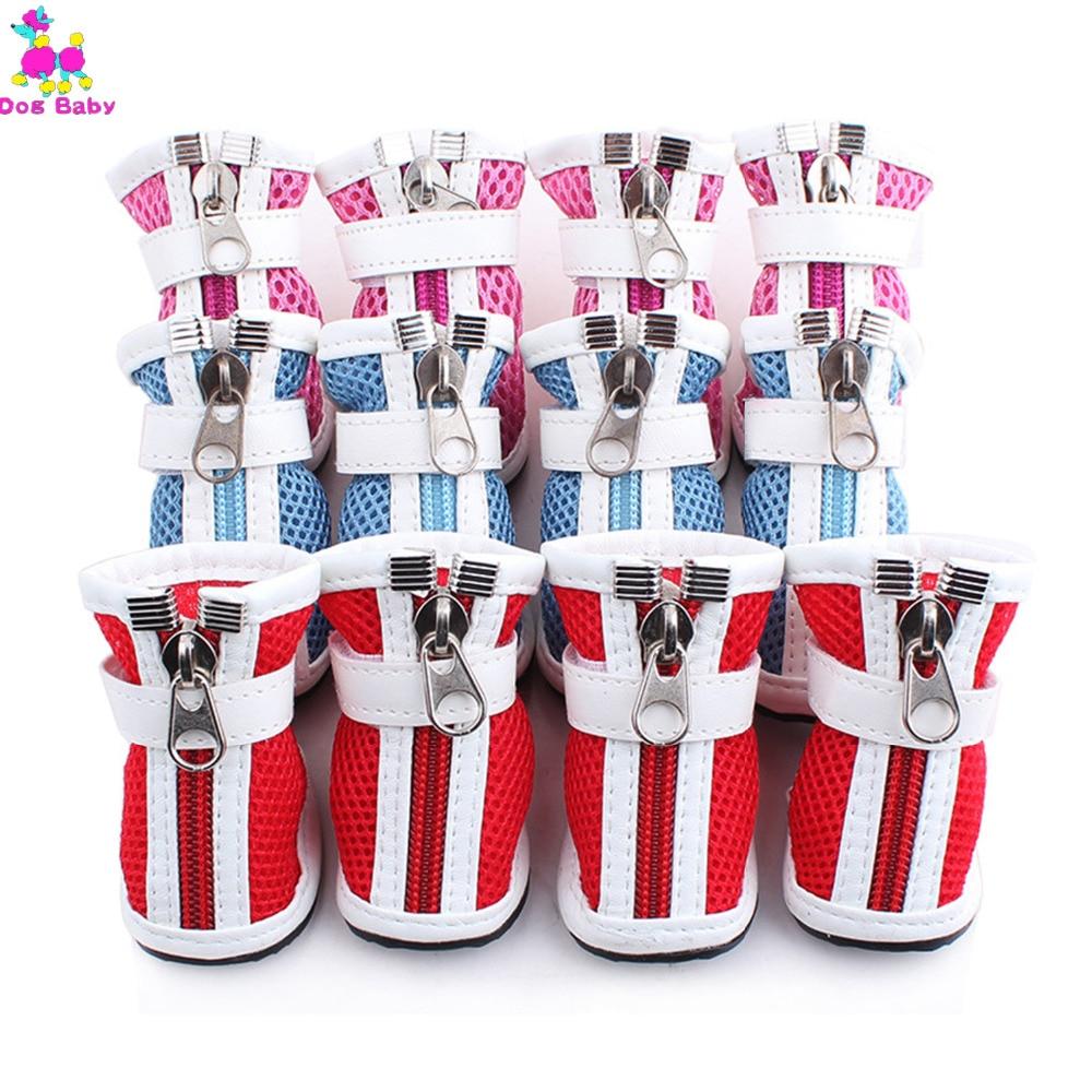 DOGBABY Взуття для собак Сітка Поверхня Дихаючий Pet взуття Бавовняна тканина Zipper Дизайн Собаки взуття Весна літо Прохолодний взуття для Тедді  t