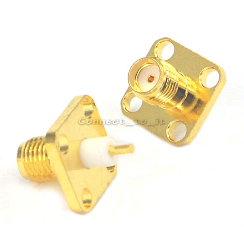 (100 pieces/lot)  SMA female 4 hole panel mount Jack solder Post terminal connector-in Connectors from Lights & Lighting    2