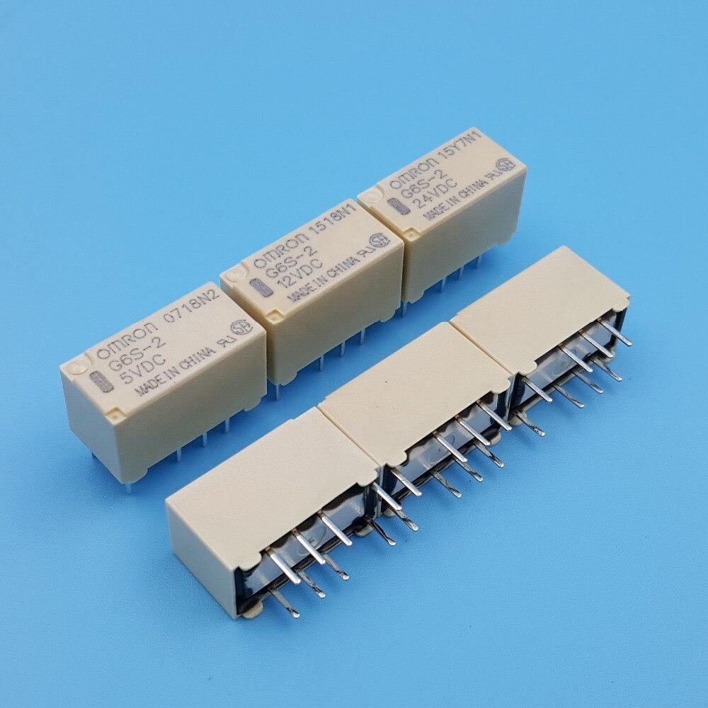 10 יחידות OMRON G6S-2 DC5V/12 v/24 v PCB הר 2-מוט 8Pin מיני אות מתג ממסר