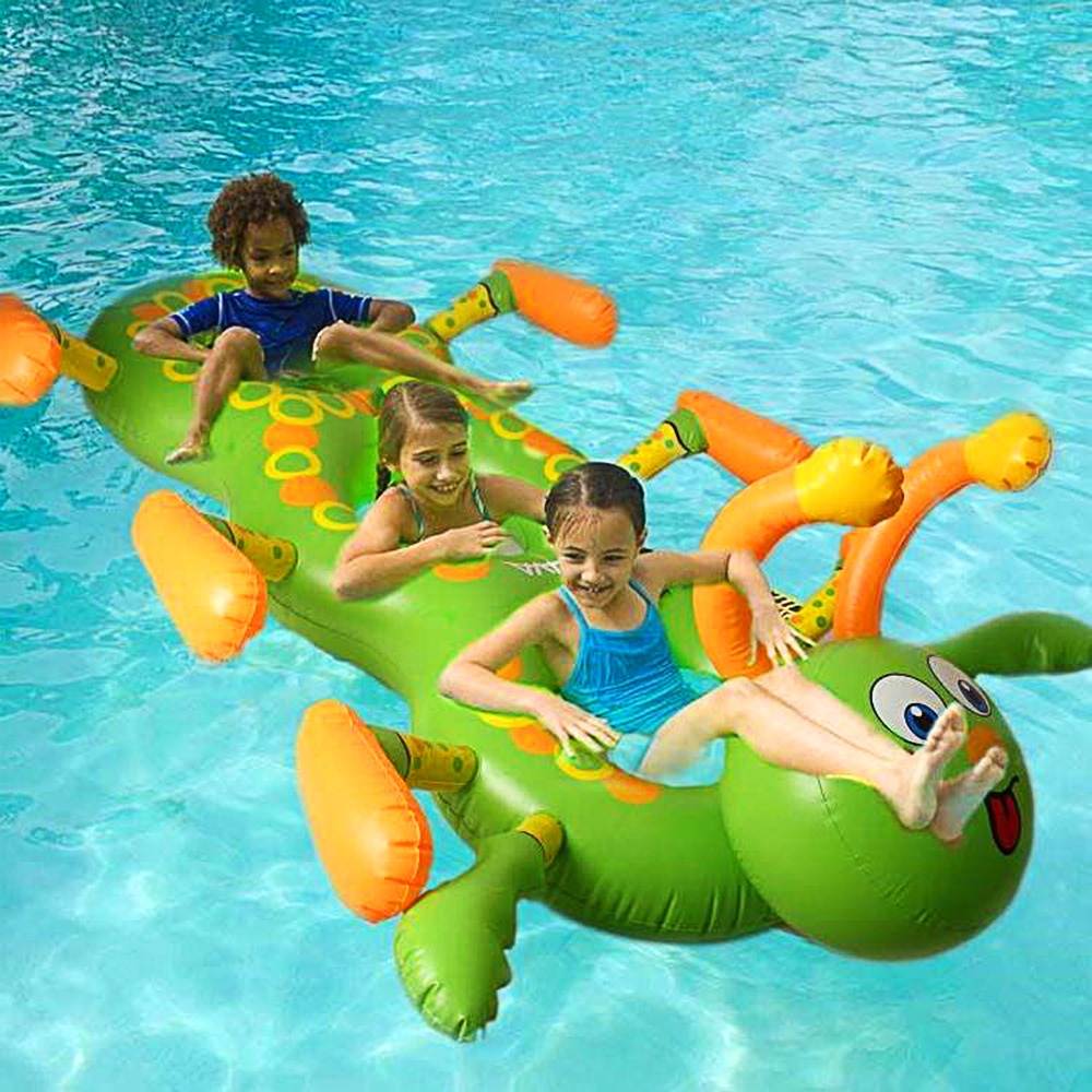 New Swimming Pool Inflatable Pvc Inflatable Floating Row Water Three Flamingo Ride On Pool Toy