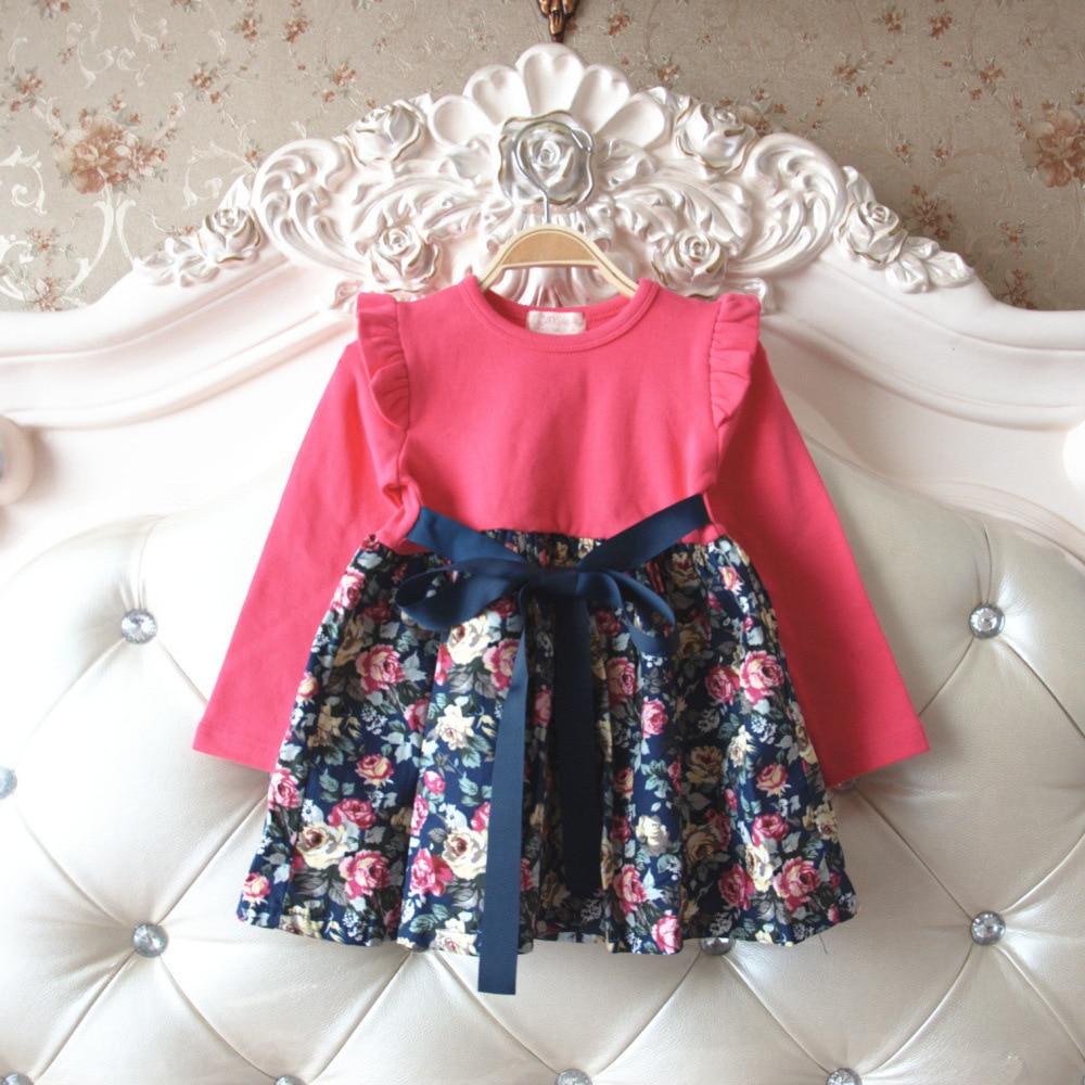 0b73bae55b7e8 الفتيات ملابس الأميرة الفتيات اللباس الأطفال ملابس الربيع الخريف طباعة  vestido infantil ميني فساتين الطفل الاطفال زي