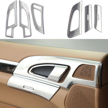 6X CHROME Inner Door Button Bowl Decorative Cover Trim FOR Porsche Cayenne 11-16