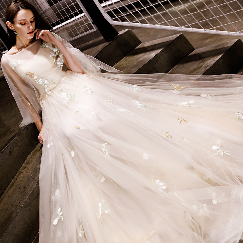 Image 3 - Walk Beside You Champagne Evening Dresses Romantic 3/4 Sleeves  Cap Sleeves Boat Neck Tulle Sweep Train 2020 Long Prom Gown  StockEvening Dresses