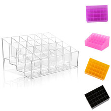 1Pc popfeel 6colors 24Grid Acrylic Makeup Organizer Storage Box Case Lipstick Display Stand Drawers Jewelry Makeup Tool Kits(China)