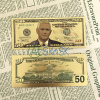 1-10pcs/lot Fashion commemorative colorful 50 dollars gold foil fake money American the Vice President Mike Pence gold banknote