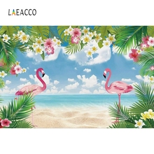 Laeacco Wedding Birthday Party Flowers Flamingos Photography Background Customized Photographic Backdrops For Photo Studio 100% hand painted pro dyed muslin backdrops for photography studio customized photographic background wedding backdrops 10x10ft