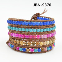 Hot Selling Handmade Adjustable natural stone beaded bracelet Charms Multilayer Bracelet Wristband JBN-9370