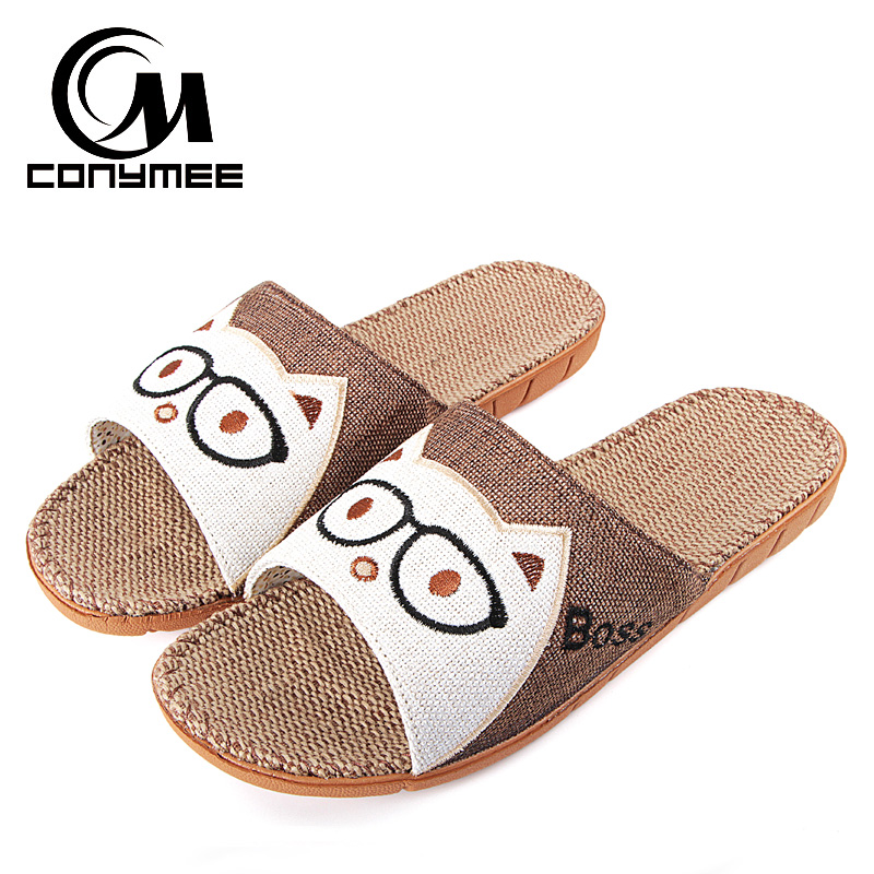 CONYMEE Summer Shoes Sandals Men 2018 Fashion Indoor Home Slippers Flax Zapatos Hombre Flat Shoe Slipper Casual Male Sneakers