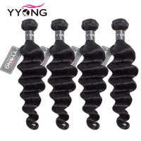 Yyong Hair 4 Bundle Deals-extensiones de cabello humano brasileño suelto de ondas profundas, 8-30 pulgadas, cabello humano 100% Remy, Color Natural
