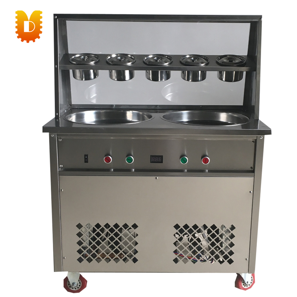 ice frying machine ice cream roll making machine chinese single round pan rolled ice cream machine fried ice cream roll machine with 6 barrels
