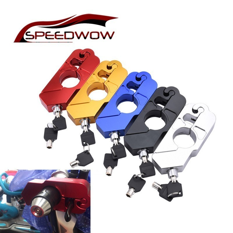 SPEEDWOW Motorcycle Handlebar Lock Security Safety Theft Protection Fit For Scooter ATV Dirt Street Bikes Auto