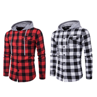 Fashion Men Red Plaid Hooded Sweatshirt Casual Cotton Soft Hoodies Sweatshirts Slim Long Sleeve Pullover Hiphop