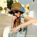 Sombrero del Verano de Las Mujeres 2016 de La Manera Remiendo de La Flor Del Sombrero de Ala Ancha Sunhat Beach Girls Summer Lado Anti-Ultravioleta Cap Gorros Plegable