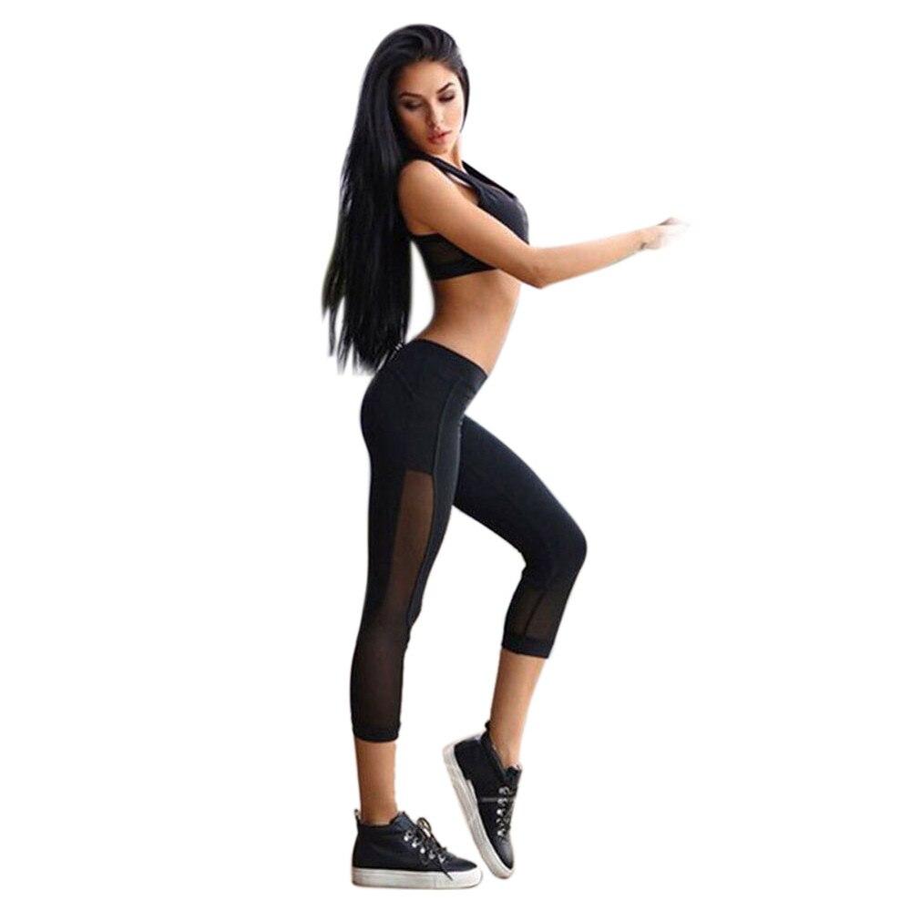 Black y Mesh Woman Yoga Pants Sport Gym Fitness Trousers lady