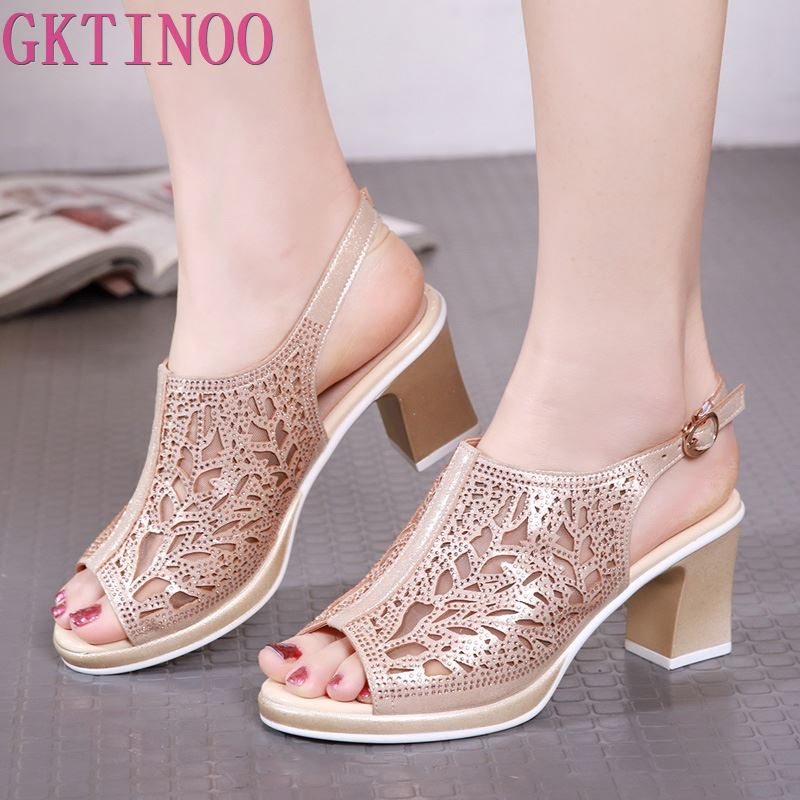 GKTINOO Fashion Woman Hollow Out Sandals Crystal Summer Women's Shoes Sexy Peep Toe Ankle Strap Soft Square High Heels Sandals-in High Heels from Shoes    1
