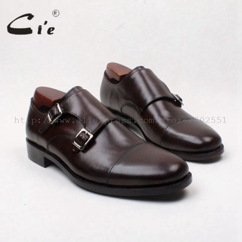 cie Free Shipping Round Toe Captoe Double Monk Straps Calf Leather Breathable Men Shoe Dress/Causal Color Deep Brown Shoe .MS120
