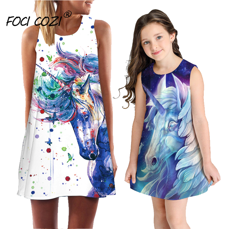 Summer Dresses 2019 unicorn dress girl women children mom and daughter dress casual cartoon dresses sleeveless Family Matching in Matching Family Outfits from Mother Kids