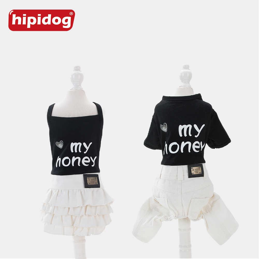 Хипидог собака кошка черный и белый камзол платье ремень брюки Лето Без Рукавов одежда жилет юбка комбинезон для маленькой собаки чихуахуа
