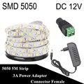 DC 12V Fita LED Strip 5050 5M 300LED iluminacion LED Light Flexible Neon Tape Tira LED 12V Ledstrip Bande Ruban With 3A Power