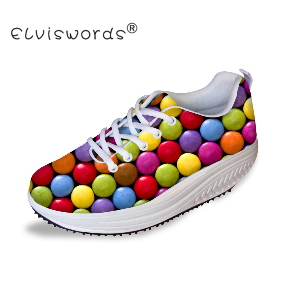 ELVISWORDS Height Increasing Swing Shoes Women Colorful Candy Prints Casual Flats Platform Shoes for Ladies Slimming Shoes Girl candy color slimming wedges casual shoes women platform shoes autumn trendy health lady beauty swing fitness shoes increasing