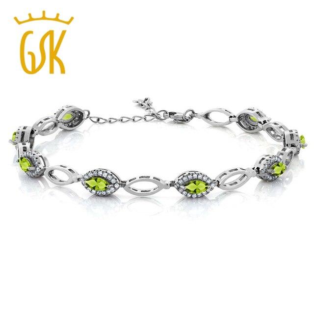 Gemstoneking 925 esterlina pulseiras de prata do vintage para as mulheres 3.66 ct marquise peridoto verde natural pulseira