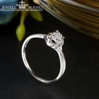 JEWELLWANG 0.8 Carat Effect Diamond Rings 18K Gold Rings for Women Certified Engagement Ring Light Luxury Anniversary Gift Girl