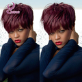 Rihanna's hairstyle red short human hair bob wigs for black women glueless full lace wigs&lace front bob cut natural wigs 99j