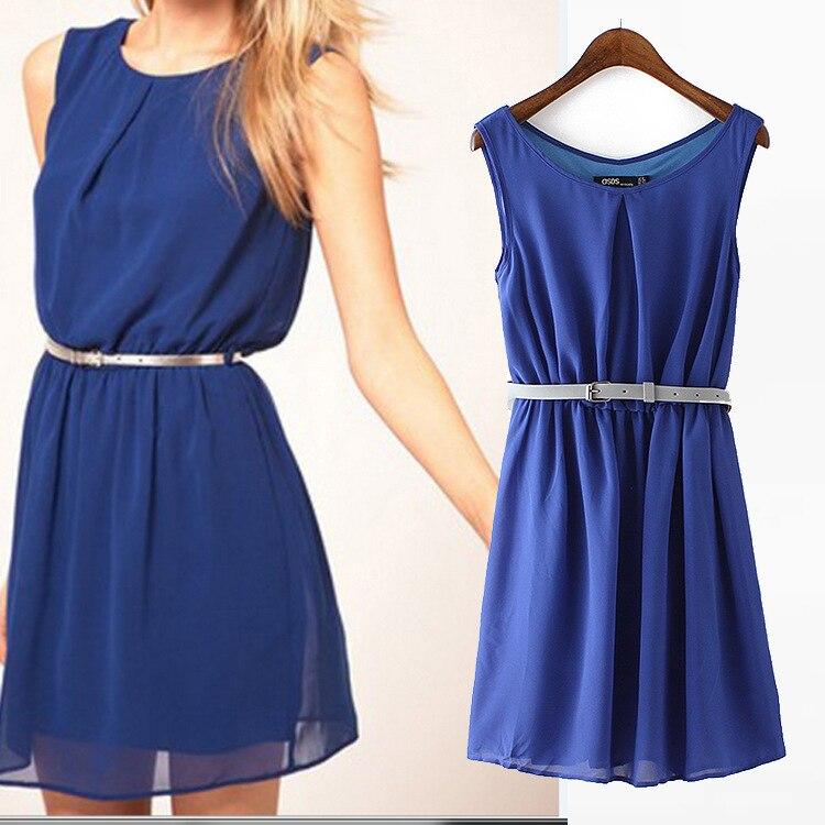 European Style Chiffon Dress Sleeveless Dresses Sundress Blue O-Neck Sleeveless Dress WQZ21673