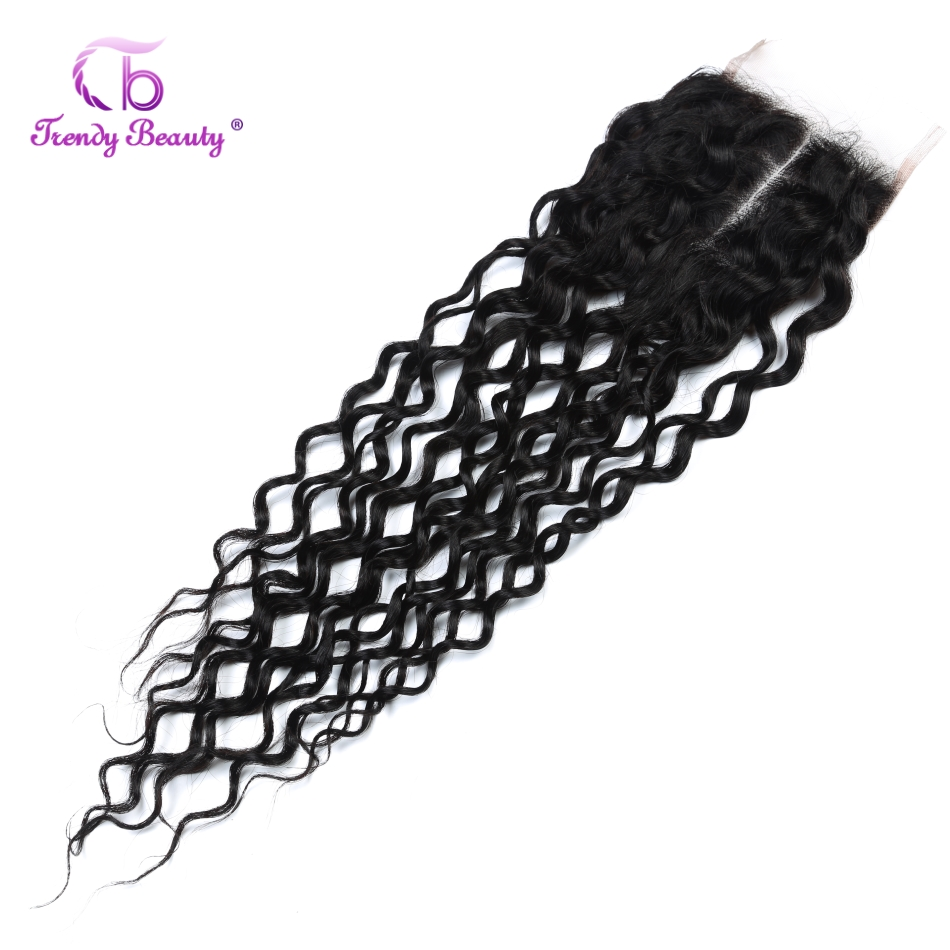 Brazilian Water Wave Lace Closure 120% Density Human Hair Extension 4X4 Lace Closure Free Ship Color #1B Trendy Beauty Hair